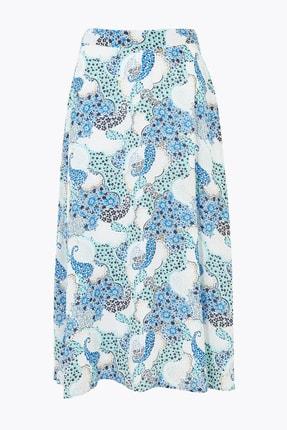 Marks & Spencer Kadın Mavi Çiçek Desenli Midi Etek T42001033 3