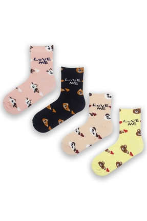 Modernity Kadın Renkli Parfümlü Love Me Baskılı 4'lü Çorap Seti 0