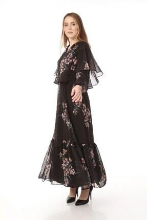 Yare V Yaka Etek Ucu Fırfırlı Uzun Şifon Elbise 3