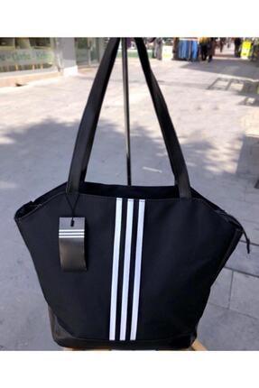 Leila Çanta Siyah Büyük Boy Siyah Beyaz Çizgili Kadın Spor Çanta 1