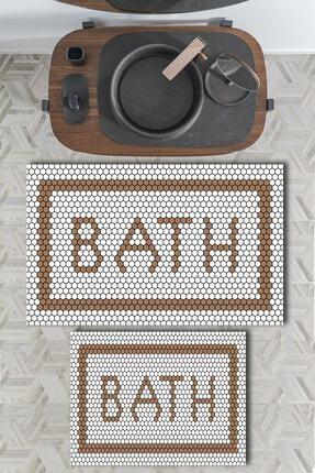 EVİMOD The Bath Brown Kahverengi Yıkanabilir 2li Banyo Halısı Paspas Klozet Takımı X 0