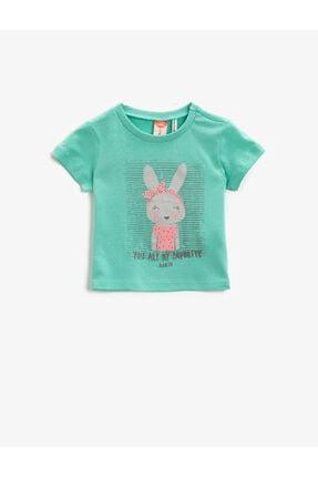 Koton Kız Çocuk Yeşil T-Shirt 0