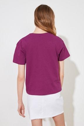 TRENDYOLMİLLA Mor Baskılı Semi Fitted Örme T-Shirt TWOSS20TS0804 4