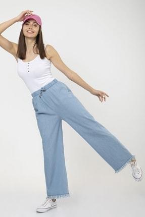 MD trend Kadın Mavi Bel Lastikli Bol Paça Rahat Kalıp Jean Kot Pantolon 1