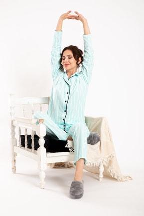 TAMPAP Turkuaz Kadın Gecelik Pijama Takımı 3