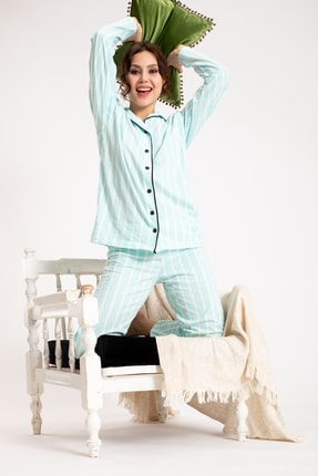 TAMPAP Turkuaz Kadın Gecelik Pijama Takımı 4