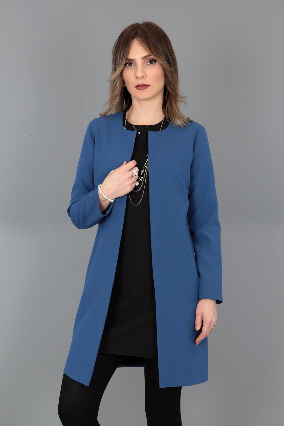 Kadın İndigo Düz Ceket