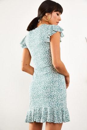 Olalook Kadın Mint Çiçekli Kolu ve Eteği Fırfırlı Kaşkorse Elbise ELB-19001407 2