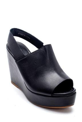 Derimod Kadın Siyah Deri Dolgu Topuk Sandalet 1