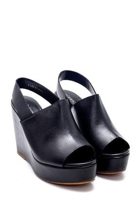 Derimod Kadın Siyah Deri Dolgu Topuk Sandalet 2