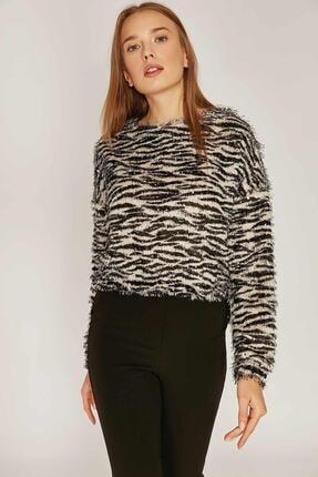 Pattaya Kadın Zebra Desen Sweatshirt F209 1