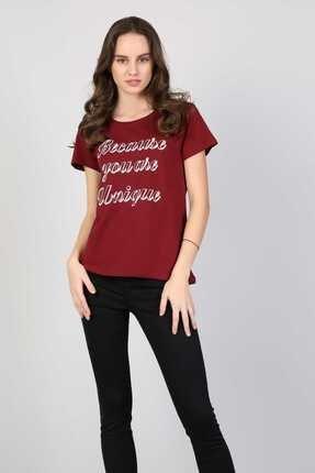 Colin's Bordo Kadın Tshirt K.kol CL1042619 2