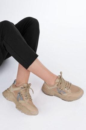 Marjin Kadın Bej Sneaker Dolgu Topuk Spor Ayakkabı Aletta 3