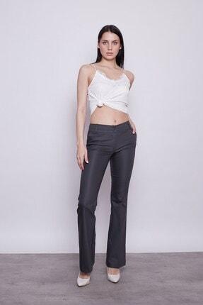 Jument Kadın Antrasit Kalın Kemerli Cepli Ispanyol Bol Paça Likralı Kumaş Pantolon 1