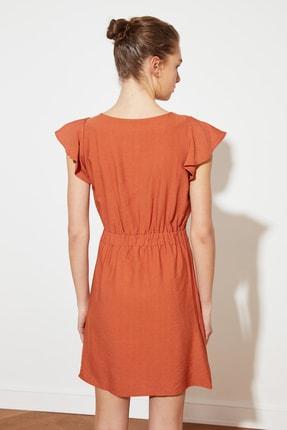 TRENDYOLMİLLA Kiremit Kolları Volanlı Elbise TWOSS20EL0973 3