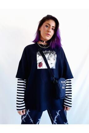 twentyone Kadın Siyah Anime Çizgili Kol Oversize Sweatshirt 1