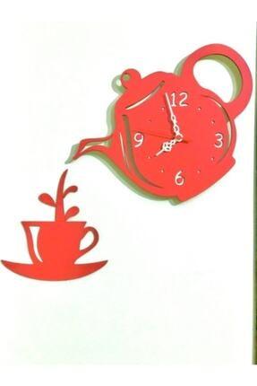 3M Dekoratif Ahşap Mutfak Ve Cafe Duvar Saati - Kırmızı 0
