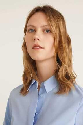 Mango Kadın Gök Mavisi Düğmeli Pamuklu Bluz 41013707 3