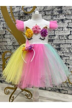 Pumpido Kız Çocuk Unıcorn Simli Tütülü Rengarenk Parti-doğum Günü Prenses Elbisesi 0