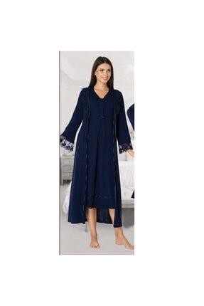 Effort Pijama Kadın Lacivert Kol Dantel Detaylı Lohusa Sabahlık 0