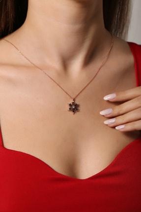 Forenza Silver Kadın 925 Ayar Gümüş Rose Mistik Topaz Taşlı Papatya Kolye 0