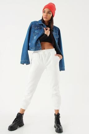 Kadın Mavi Taşlamalı Kot Ceket 5672MKSP