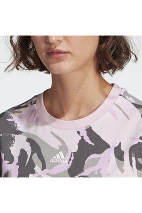 adidas Kadın Pembe Spor T-Shirt Gl7587 W Camo T 4