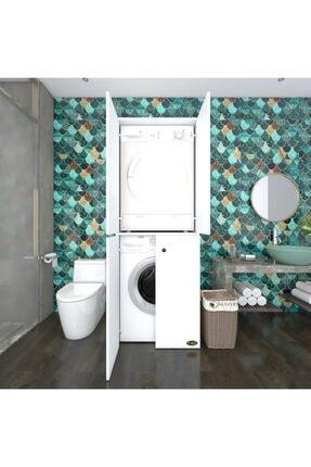Kenzlife Çamaşır-kurutma Makinesi Dolabı Kapaklı Jelena Byz 180*70*60 Banyo Çift Katlı Ofis 0