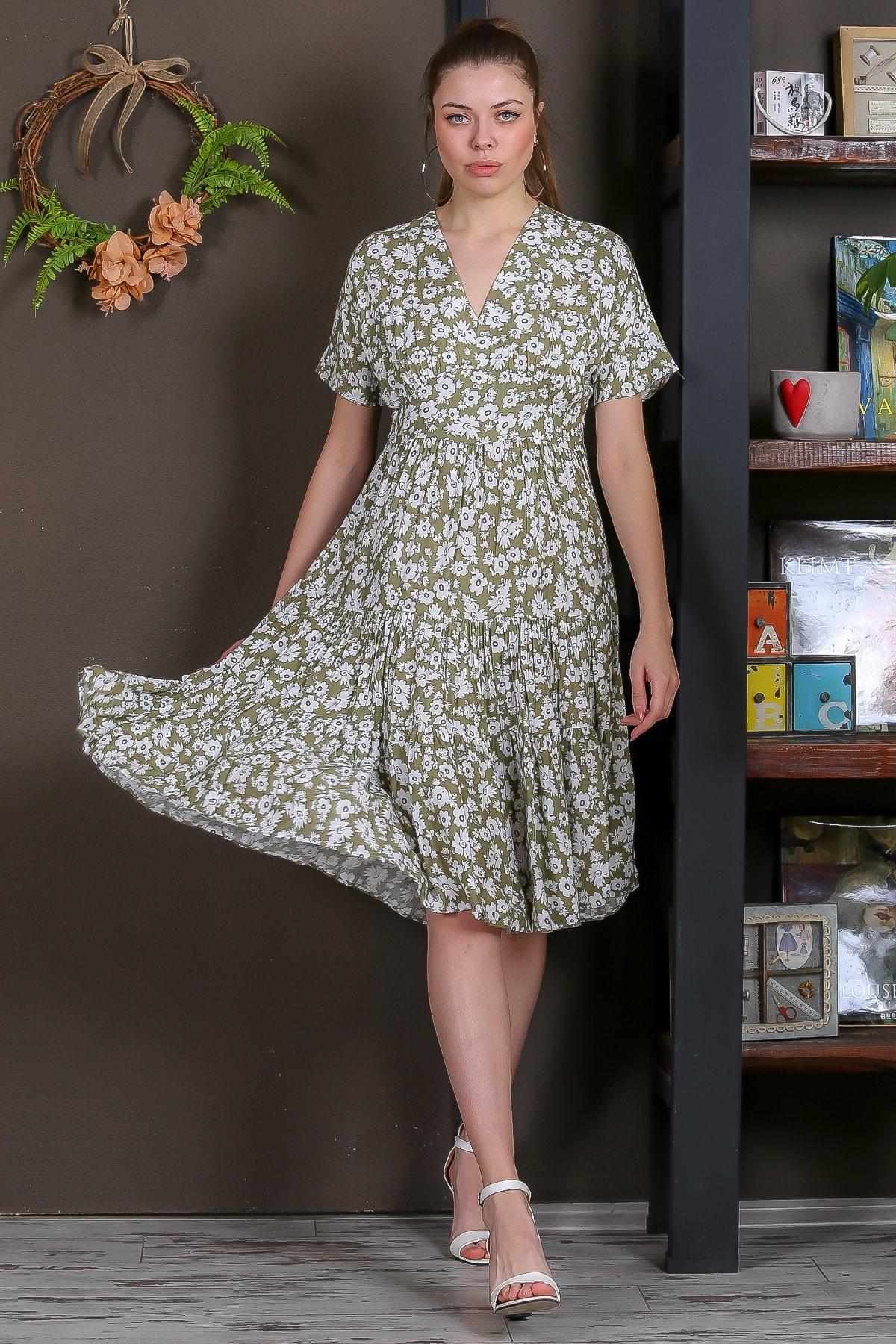 Chiccy Kadın Yeşil Düşük Kol V Yaka Fırfırlı Dokuma Midi Elbise M10160000EL95432 3