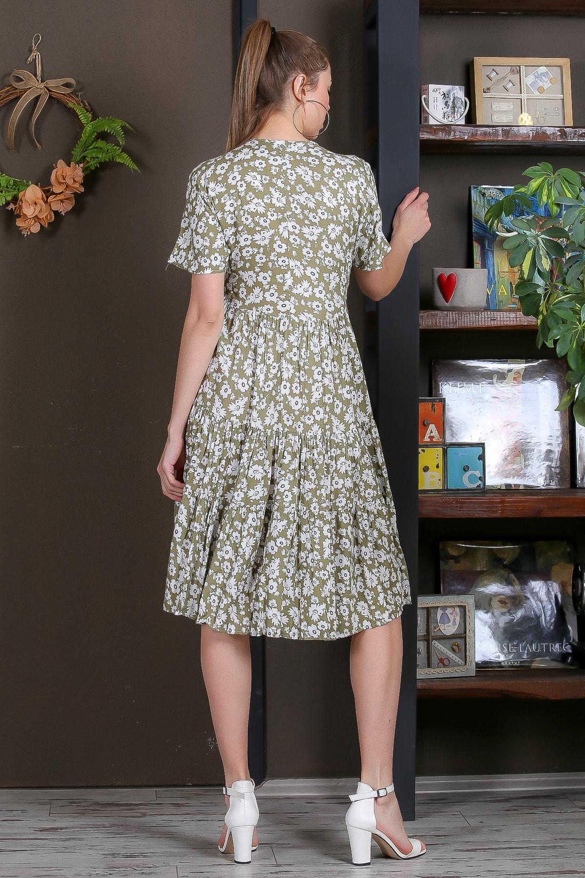 Chiccy Kadın Yeşil Düşük Kol V Yaka Fırfırlı Dokuma Midi Elbise M10160000EL95432 4