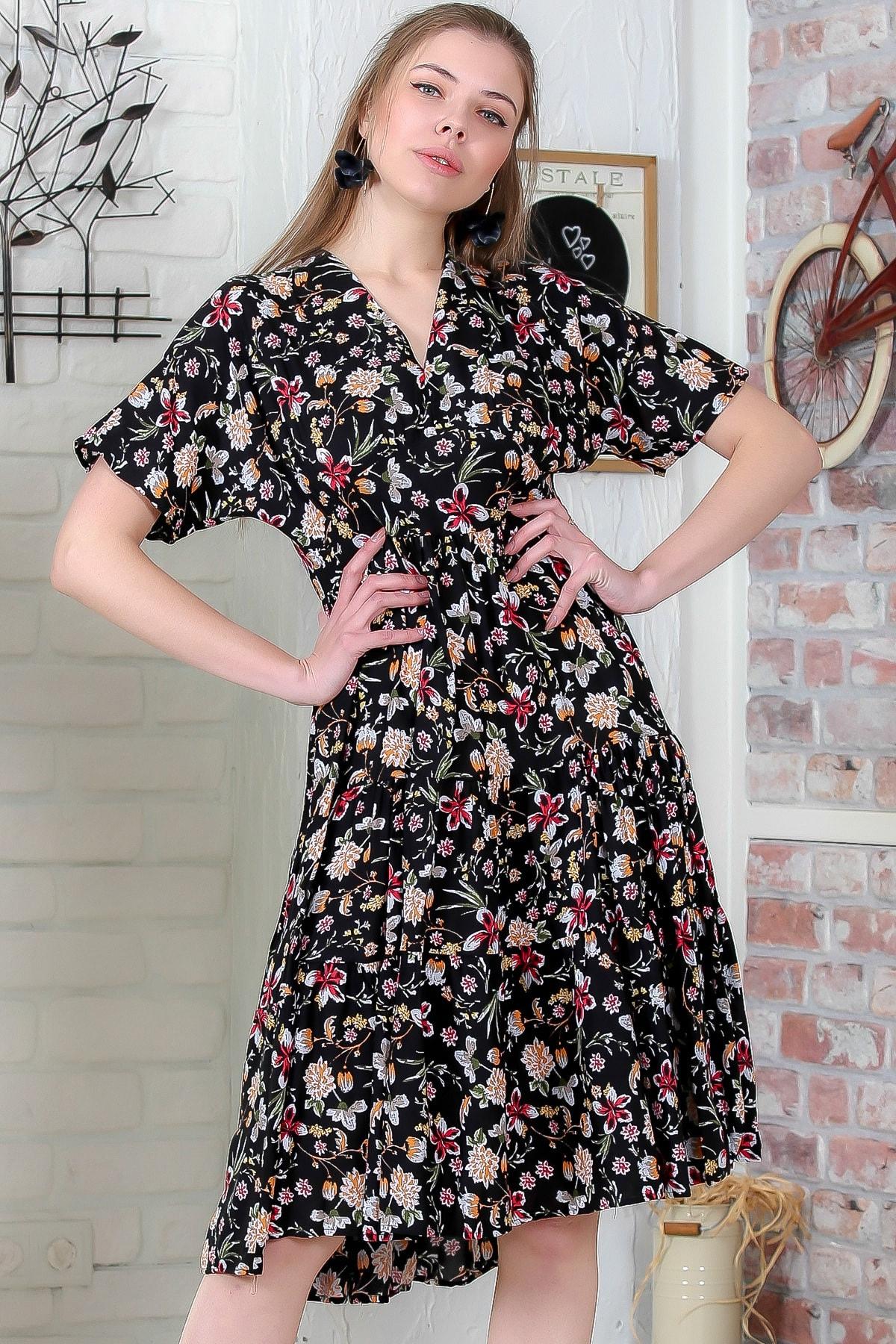 Kadın Siyah Düşük Kol V Yaka Fırfırlı Dokuma Midi Elbise M10160000EL95432