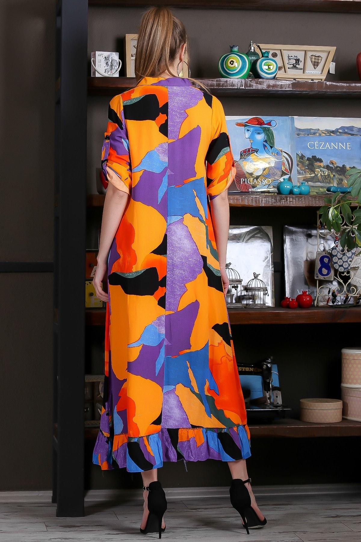 Chiccy Kadın Turuncu-Mavi Kübist Desen Düğme Detaylı Etek Ucu Fırfırlı Uzun Gömlek Elbise M10160000EL95462 4