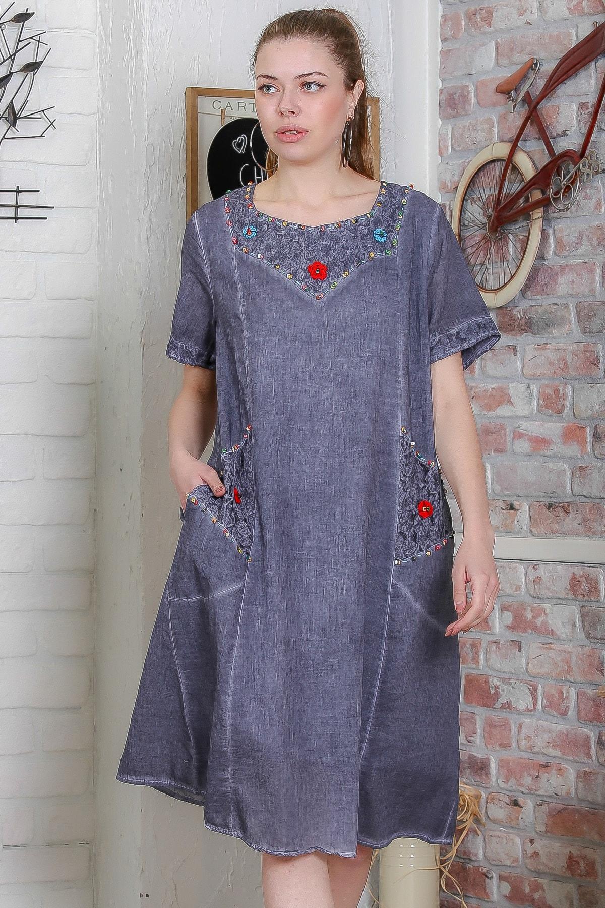 Kadın Füme Dantel Detaylı El İşi Çiçekli Cepli Astarlı Yıkamalı Dokuma Midi Elbise  M10160000EL95439
