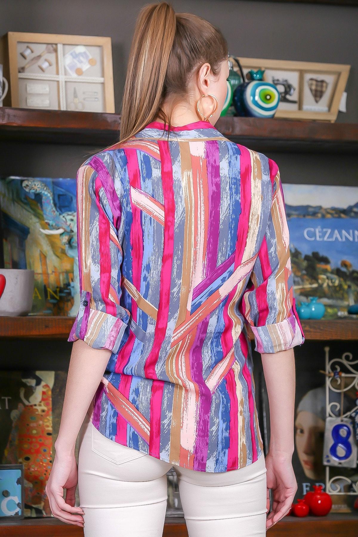 Chiccy Kadın Pembe-Mavi Renkli Çizgi Desenli Kolları Ayar Düğmeli Dokuma Gömlek M10010400GM99441 4