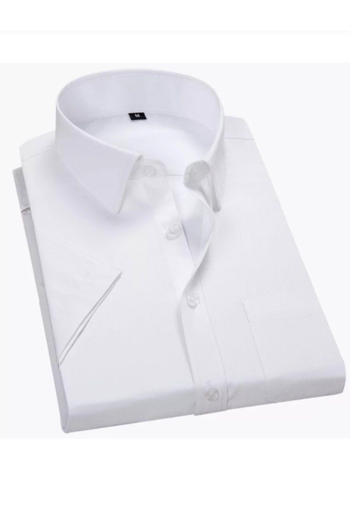 Erkek Beyaz Klasik Kesim Kısa Kol Gömlek