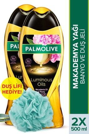 Palmolive Luminous Oils Makademya Yağı Banyo ve Duş Jeli 500 ml x 2 Adet + Duş Lifi Hediyeli 0