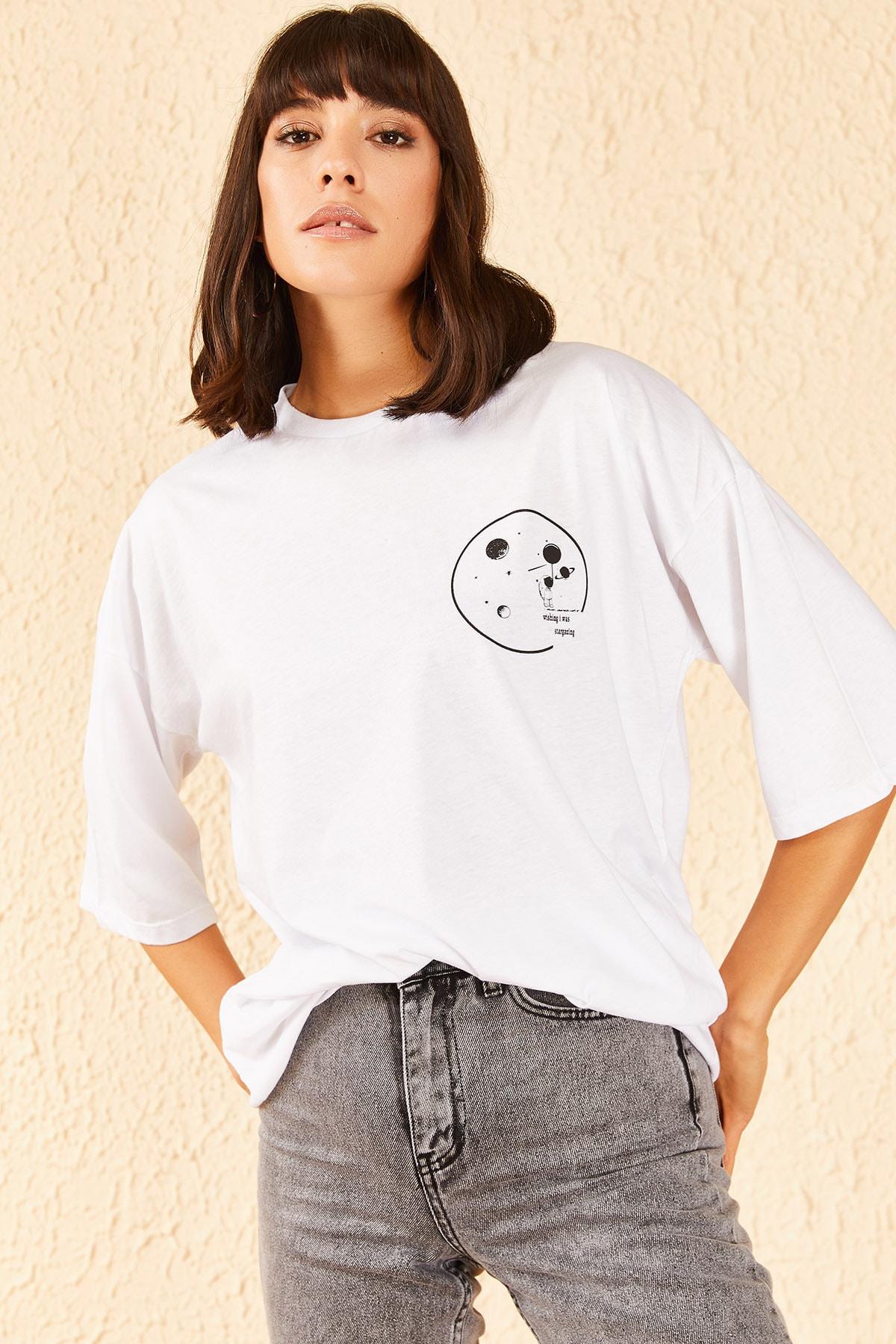 Kadın Astronot Baskılı Düşük Kol Oversize Tshirt