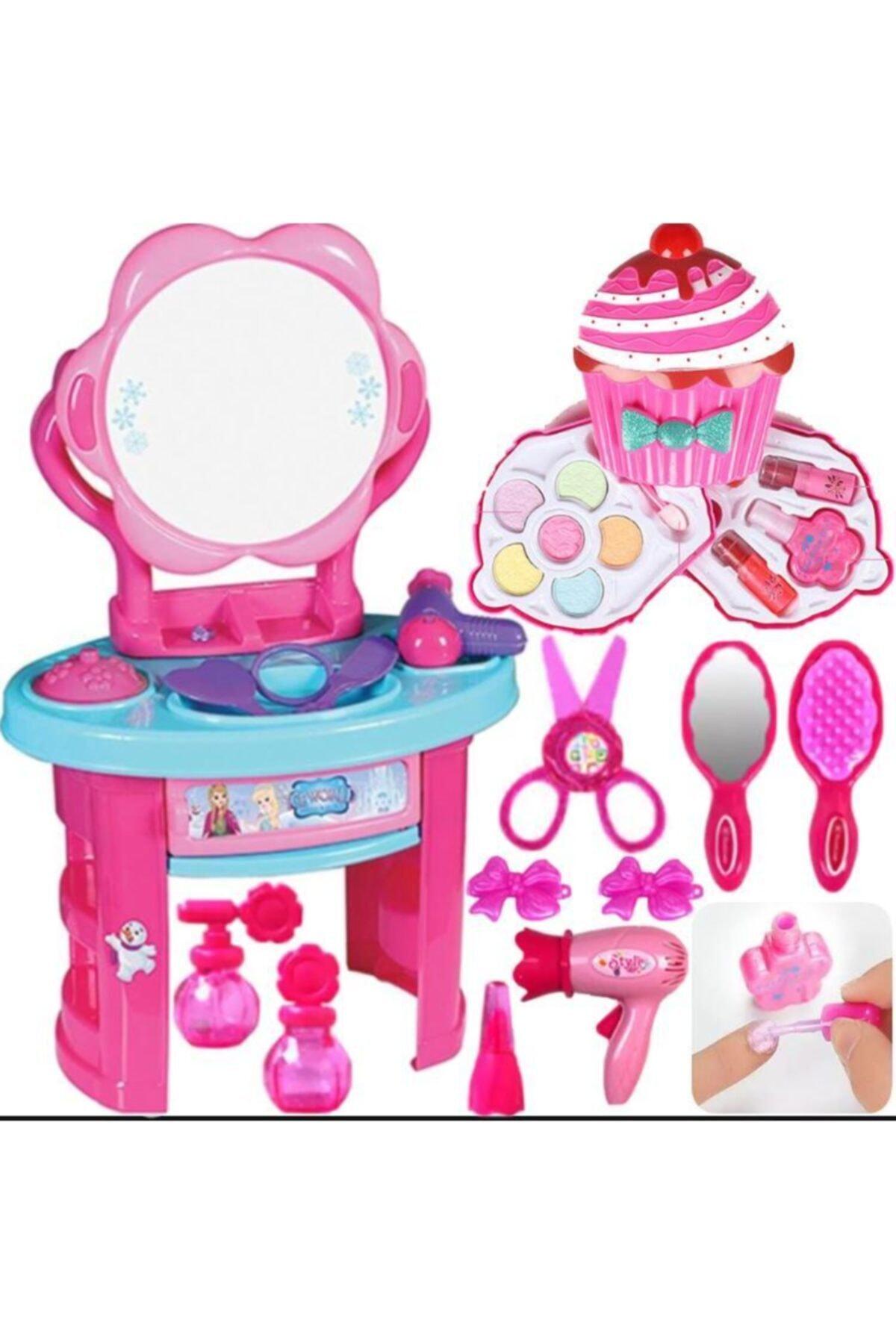 Aynalı Aksesuarlı Prenses Makyaj Masası + Cupcake Sürülebilir Makyaj Seti Kız Çocuk Evcilik Oyuncak