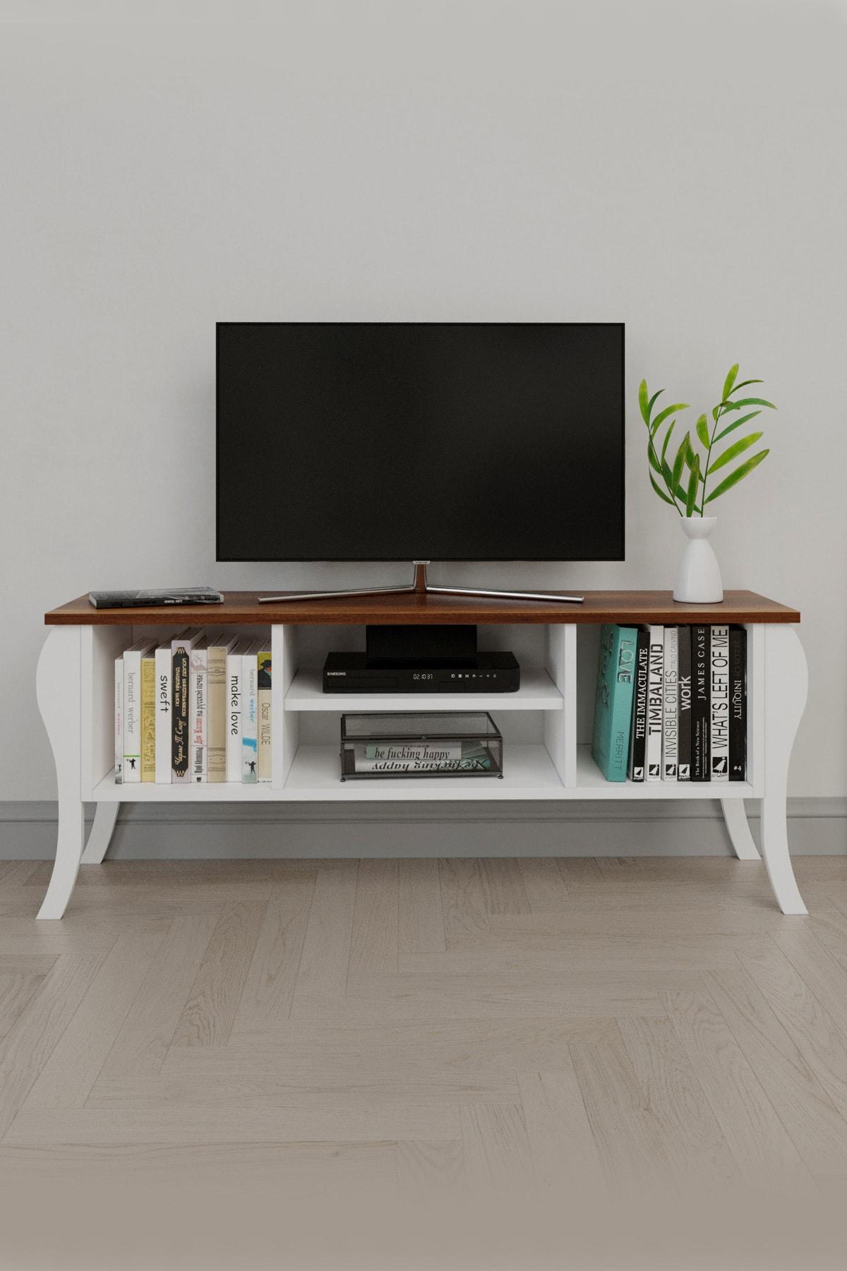 Modern Lukens Ayaklı Kapaksız Tv Ünitesi 120cm Televizyon Sehpası Ceviz