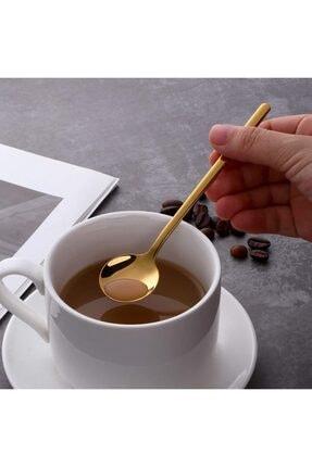 Trend Dünyam 6'lı Gold Çay Kaşığı Kahve Dondurma Tatlı Kek Şeker Kaşık Seti 0