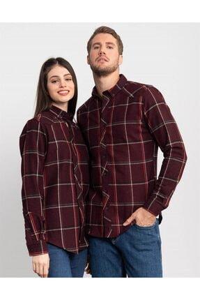Tudors Slim Fit Unisex Kışlık Kareli Bordo Gömlek 0