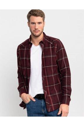 Tudors Slim Fit Unisex Kışlık Kareli Bordo Gömlek 1