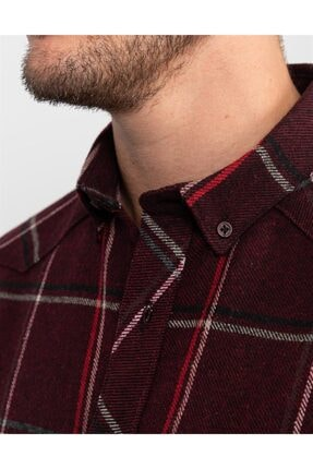 Tudors Slim Fit Unisex Kışlık Kareli Bordo Gömlek 4