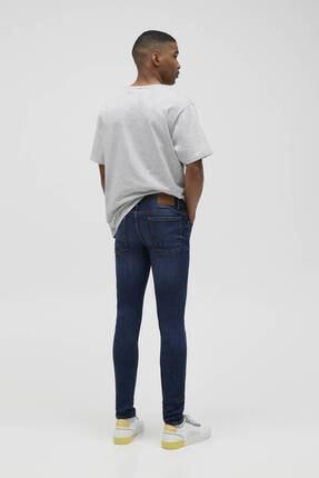 Pull & Bear Erkek Mavi Süper Skinny Fit Jean 3