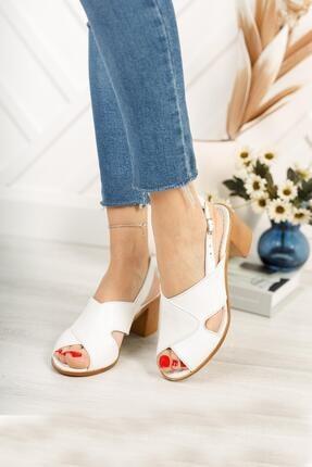 Diego Carlotti Kadın Beyaz Hakiki Deri Topuklu Sandalet 2