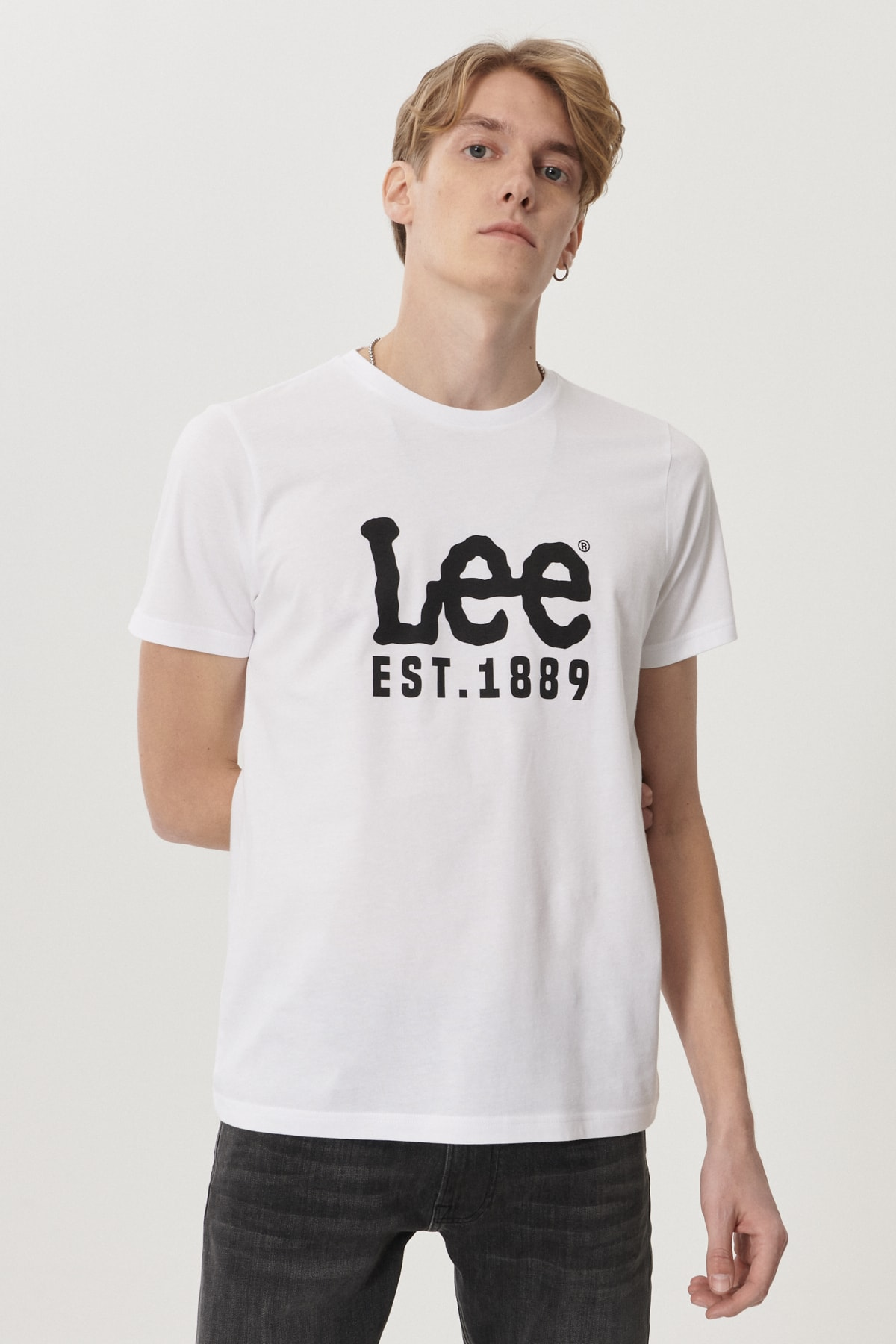 Lee Erkek Beyaz Regular Fit Bisiklet Yaka T-Shirt 0