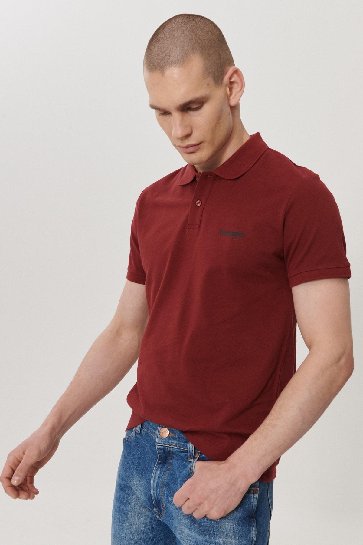 Wrangler Erkek Bordo Regular Fit Polo Yaka T-Shirt 2