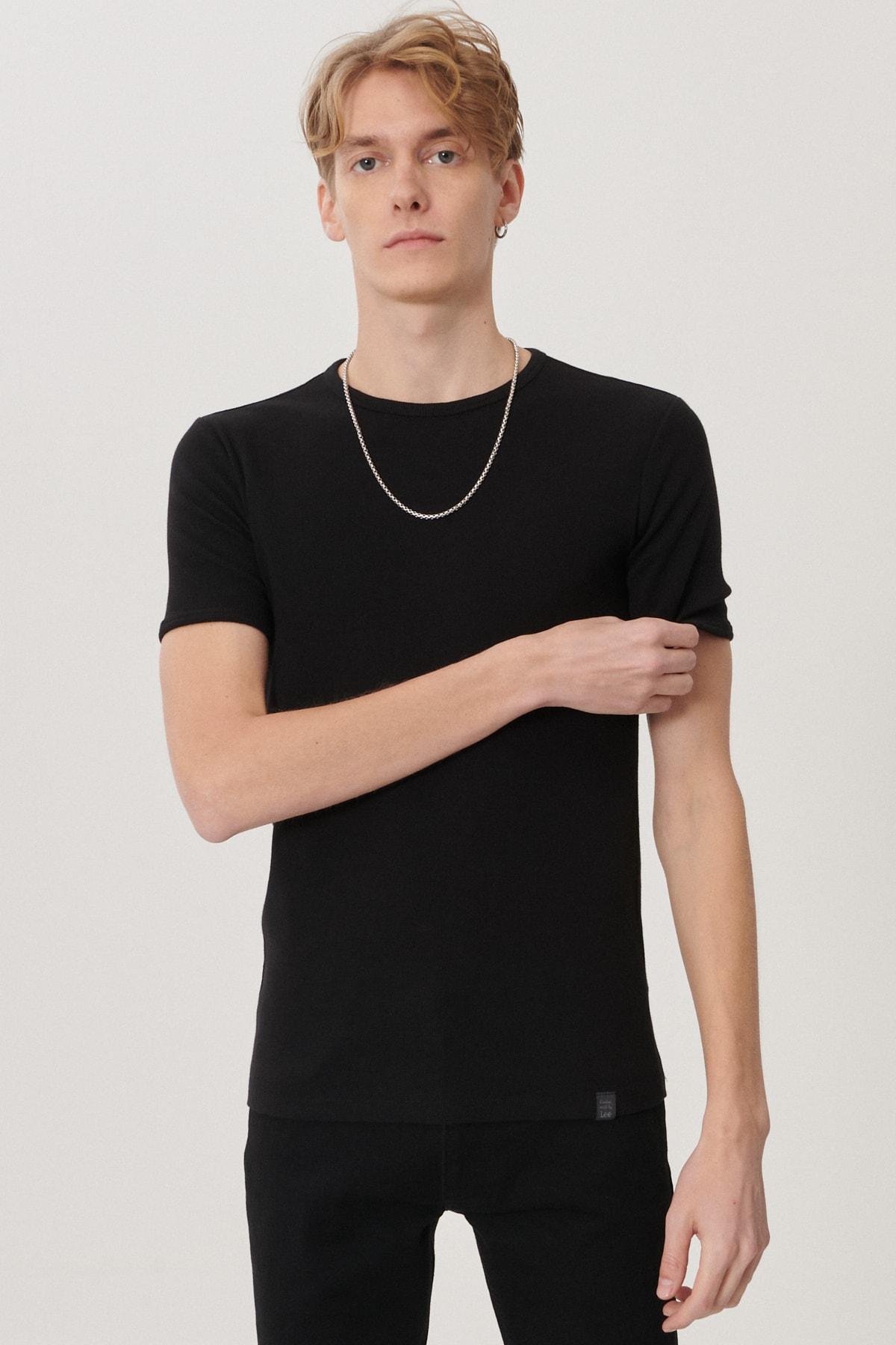 Lee Erkek Siyah Regular Fit Bisiklet Yaka T-Shirt 2