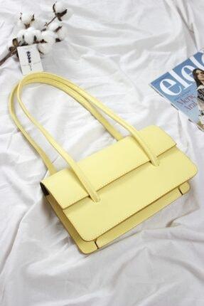 Loventa Loxxa Iki Saplı Sarı Kadın Baguette Çanta 2