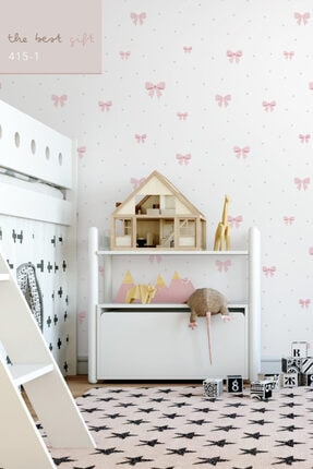 Milky Baby 415-1 Pembe Kurdele Desenli Çocuk Duvar Kağıdı (5 M²) 0
